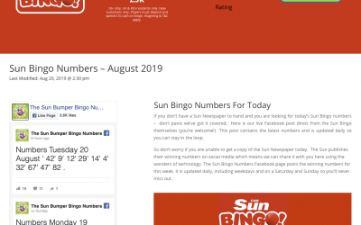 Sun Bingo Numbers Page Design