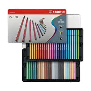 STABILO Pen 68 Tin of 50 pens of 46 Assorted Colours