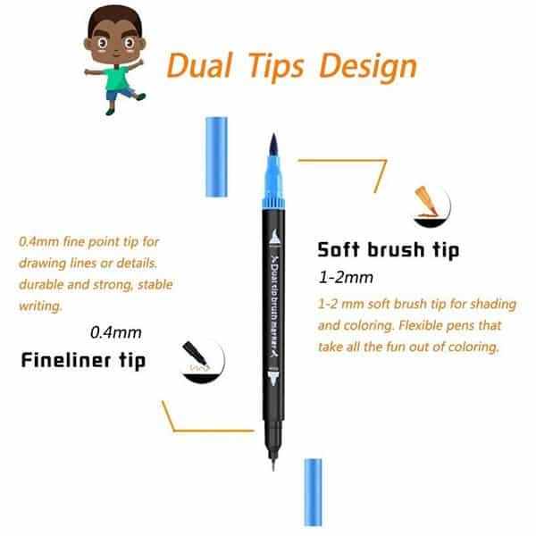 Dual Tip Brush Pens, Funnasting 72-Colors Brush Fineliner Pens